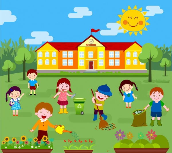 Childhood background kids cleaning outdoor colored cartoon Free ...